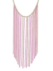 Pink And Rose Gold Tassel Necklace - Fayon