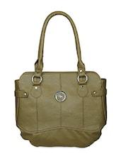 Single Front Zipper Solid Green Handbag - Black & Yellow