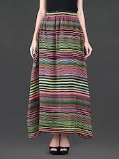 Stripes Printed Georgette Long Skirt - Klick2Style