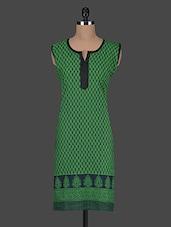 Printed Round Neck Sleeveless Cotton Kurti - Kiala