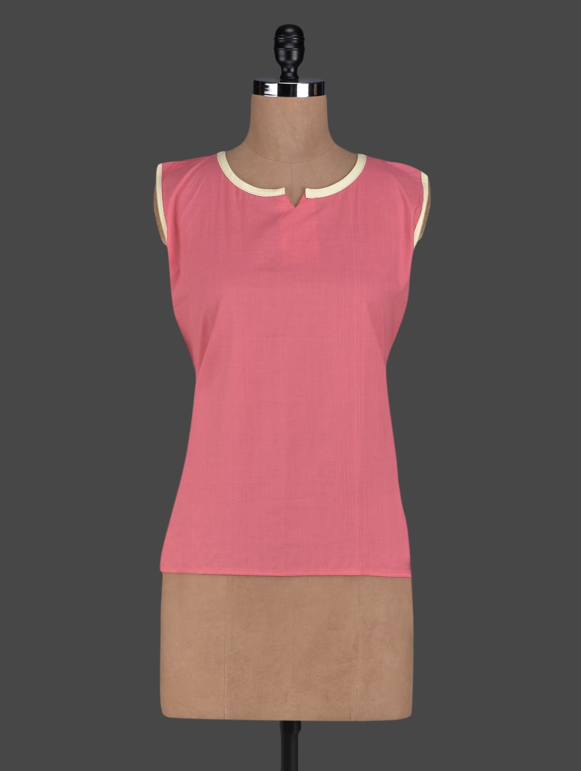 Peach Sleeveless Cotton Short Kurti - Kiala