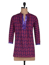 Sequin, Paisley Printed Cotton Short Kurta - By