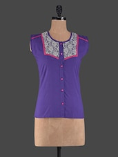 Purple Round Neck Cotton Top - Klick2Style