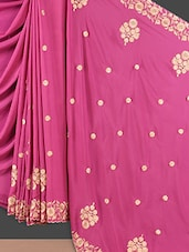 Pink Floral Embroidered Crepe Silk Saree - Style Mania