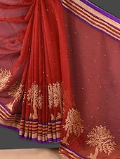 Maroon Embroidered Banarasi Net Saree - Style Mania