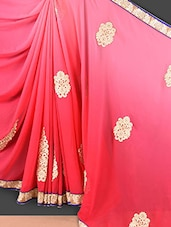 Shaded Pink Floral Embroidered Georgette Saree - Style Mania