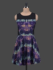 Cut Out Back Printed Flared Dress - Colbrii
