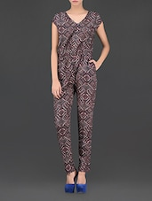 Brown Printed Mega Sleeve Jumpsuit - Thegudlook