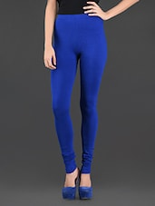 Solid Royal Blue Stretchable Leggings - Thegudlook