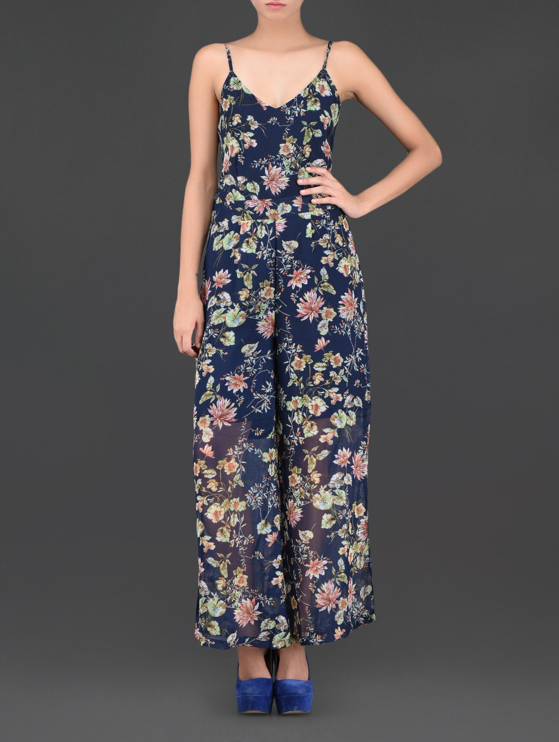 Floral Printed Polyester Jumpsuit - Thegudlook