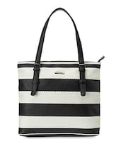 Black And White Striped Faux Leather Tote - Peperone