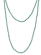 Dark Green Beaded Long Necklace - By