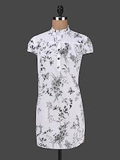 Mandarin Collar Short Sleeves Printed Cotton Top - Kwardrobe
