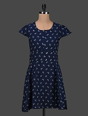 Butter Printed Cap Sleeves Crepe Dress - Kwardrobe