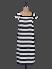 Striped Cap Sleeves Crepe Dress - Kwardrobe