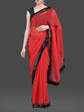 Red Georgette Saree With Sequined Border - Purple Oyster