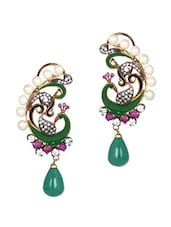Peacock Pattern Pearl Embellished Earrings - Honey Collections- By Aryan