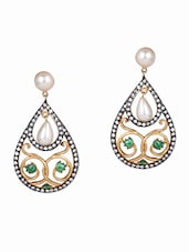 Drop Shaped Pearl Embellished Earrings - Honey Collections- By Aryan