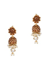 Brown Acrylic Beads Embellished Jhumkas - Honey Collections- By Aryan