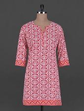 Red And White Printed Cotton Kurta - Taaga