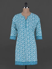 Blue And White Printed Cotton Kurta - Taaga