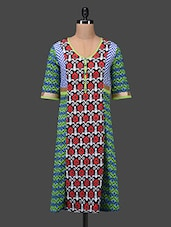 Printed Three Quarter Sleeves Cotton Kurta - Taaga