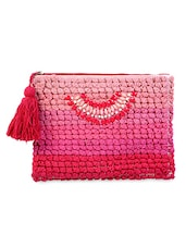 Pom-pom embroidered pouch with tassels -  online shopping for Pouches