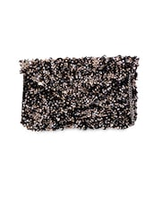 Embellished canvas chain clutch
