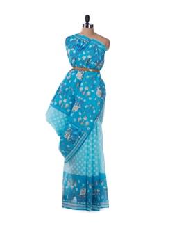 Aqua blue gossamer saree