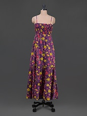 Camisole Neck Smocked Floral Print Maxi Dress - Wildrose