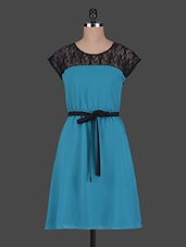 Round Neck Lace Yoke Poly Georgette Dress - Wildrose