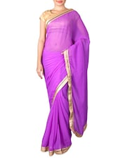 Purple Chiffon Saree With Gold Border - By