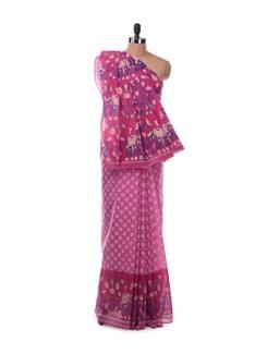 Pink gossamer saree