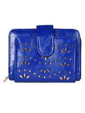 Royal Blue Cut-work Leatherette Wallet - Hotberries