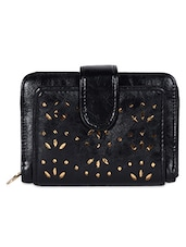 Black Cut-work Leatherette Wallet - Hotberries