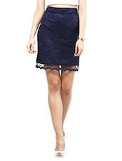 Navy Blue Polyester Lace Tube Skirt - MARTINI