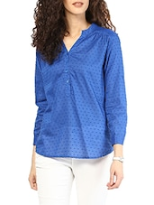 Blue Long Sleeves Cotton Dobby Top - MARTINI