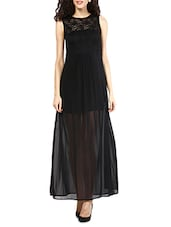 Black Lace Yoke Polyester Maxi Dress - MARTINI