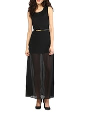 Black Polyester Maxi Dress With Belt - MARTINI