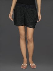 Solid Black Lace Shorts - EWA Women