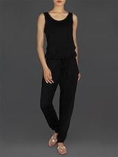 Solid Black Sleeveless Jumpsuit - EWA Women