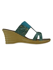 Sea Green Printed Leatherette Heel Sandals - GET GLAMR