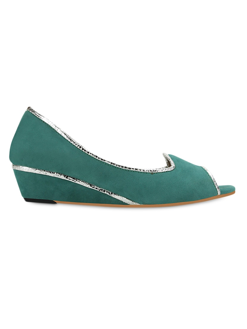 Green  Peep Toes Wedge Heel Sandals - GET GLAMR