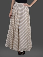 Beige And White Striped Poly Georgette Skirt - Femella