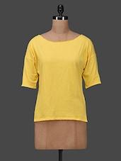 Yellow Boat Neck Top - Femella