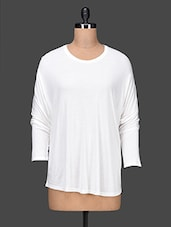 Round Neck Solid White Top - Femella
