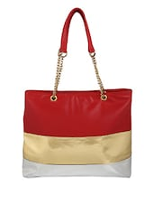 Color Block Leatherette Hand Bag - Berrypeckers