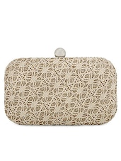 Beige Lace Work Leatherette Box Clutch