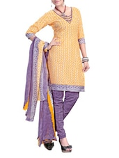 Yellow And Purple Printed Unstitched Suit Set - Fabdeal