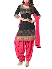 Black And Pink Embroidered Unstitched Suit Set - Fabdeal